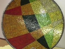 Mosaic leaf platter by Kim Wozniak. Image copyright Andrea Shreve Taylor 2015