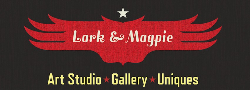 Lark and Magpie Logo. Art studio, gallery, and unique items