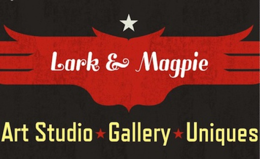 Lark and Magpie Logo. Art studio, gallery, and unique vintage items