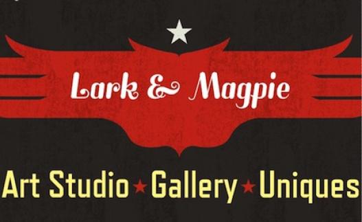 Lark and Magpie Logo. Art studio, gallery, and unique vintage items